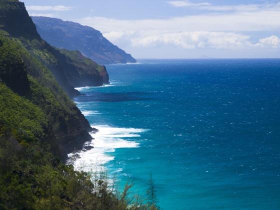 Na Pali Coast from Kalalau trail in Kauai, Hawaii