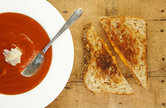Grilled Cheese Sandwich and Tomato Soup